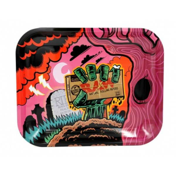 Raw Zombie Rolling Tray with full colour print and curved sides